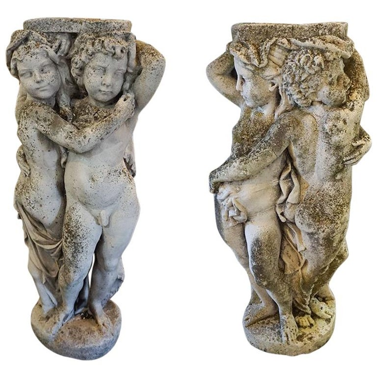 19th Century French Stone Garden Statues For Sale