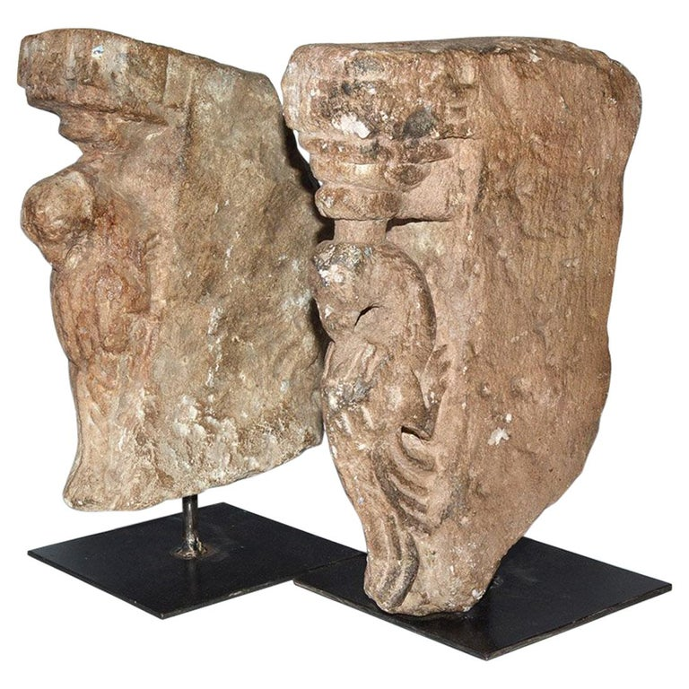 Pair of Medieval Style Architectural Stone Sculptures For Sale