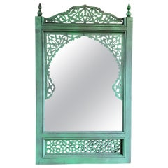 Moroccan Hand Carved Wooden Mirror, Green