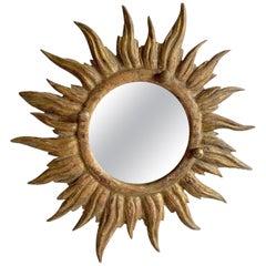Vintage Italian Wooden Sun Mirror