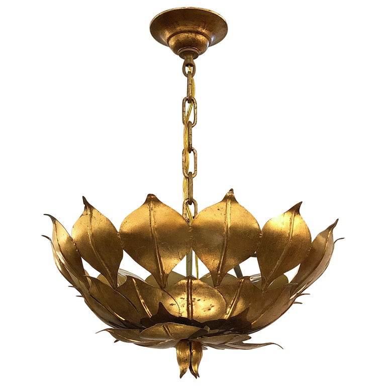 """French Gilt Three-Light Hanging Fixture with Lotus or Leaf Design (18"""" Diameter) For Sale"""