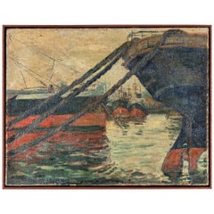 French Dock Scene Painting of Boats