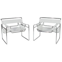 Pair of Hollywood White Leather and Chrome Wassily Style Club Chairs