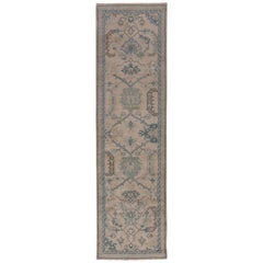 Antique Turkish Oushak Runner, Neutral Field, Blue and Green Tones