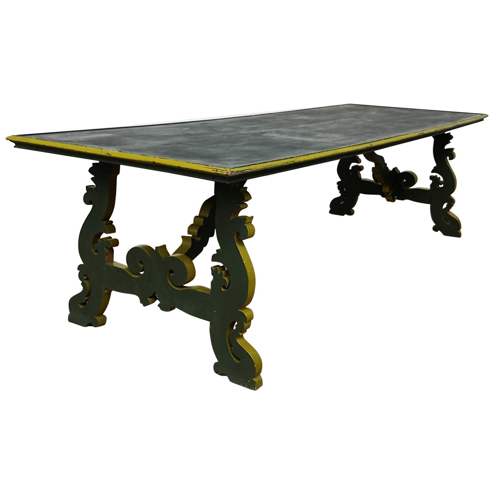 20th Century Italian Baroque Style Lyre-Shaped Legs Trestle Farm Dining Table