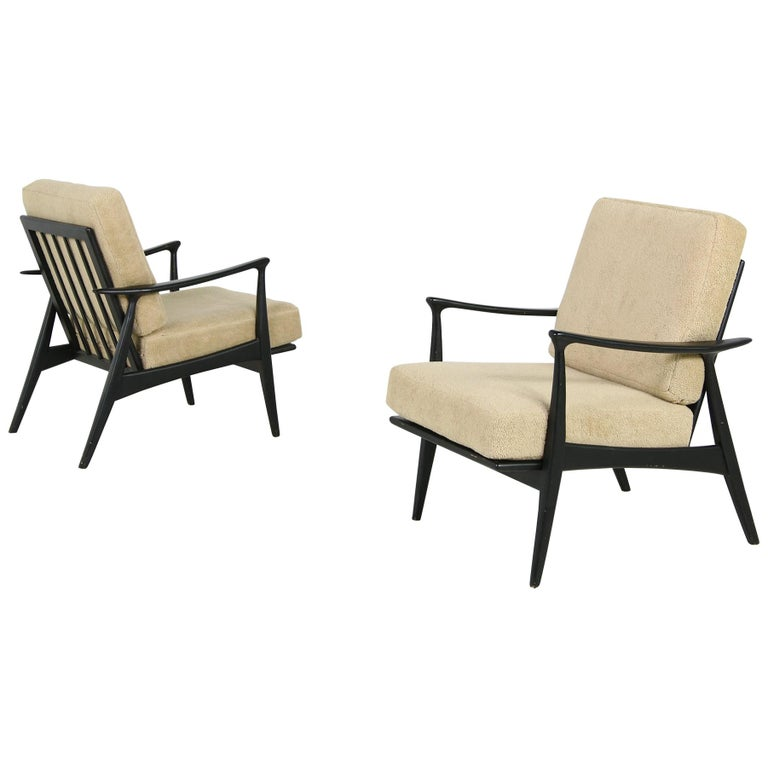 Pair of 1950s Minimalist Beechwood Organic Easy Chairs, Lounge Chairs Midcentury For Sale