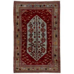 Antique Turkish Colorful Oushak Rug, Light Blue and Red Field