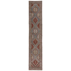 Tribal Northwest Persian Runner, Colorful, Long, circa 1910s