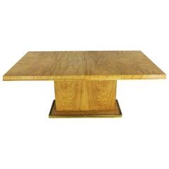 Modern Pedestal Dining Table Brass Trim Attributed Flair by Bernhardt Hibriten