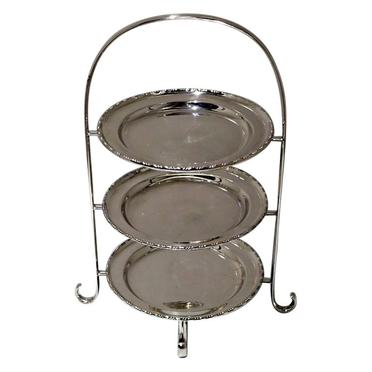 Early 20th Century Edwardian Silver plated Three Tier Cake Stand A Beardshaw For Sale