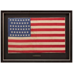 46-Star American Flag, Antique Printed on Silk, Early 20th Century