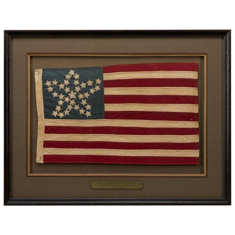 "34-Star Civil War ""Great Star Pattern"" Parade Flag, circa 1861-1865 For Sale"