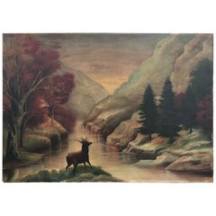 19th Century American School Primitive Landscape Painting, Oil on Canvas