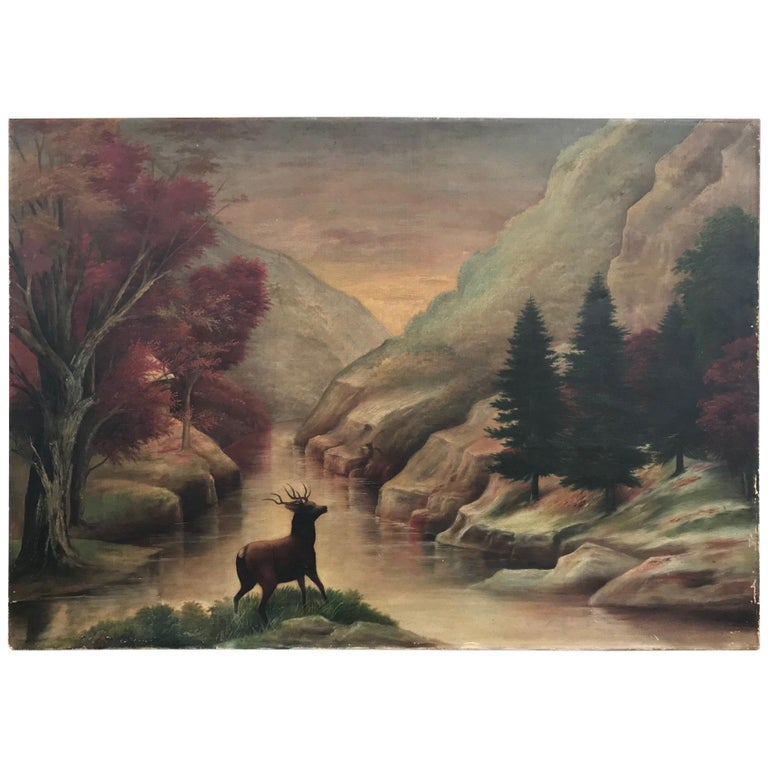 19th Century American School Landscape Painting, Oil on Canvas For Sale