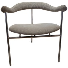 Six Giovanni Saporiti Italian Chrome Framed Dining Room Chairs 1990s