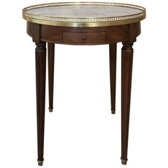 19th Century French Directoire Marble Top Round End Table