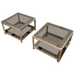 Pair of Large Octogonal Chromed Side Tables with Bronze Glass Tops, circa 1970