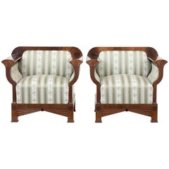 Pair of Mid-20th Century Flame Mahogany Bergère Armchairs
