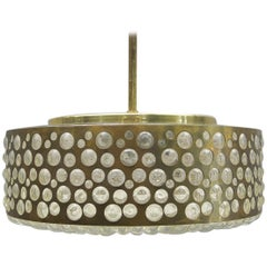 Large Midcentury Bubble Glass and Brass Ceiling Lamp for Limburg, Germany, 1960s