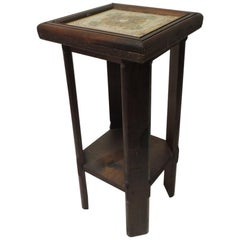 Yellow and Green Arts & Crafts Square Tile Top Wood Side Table