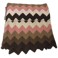 Vintage Pink and Brown Handwoven Crochet Macrame Throw