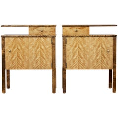 Pair of 1950s Scandinavian Birch Bedside Tables