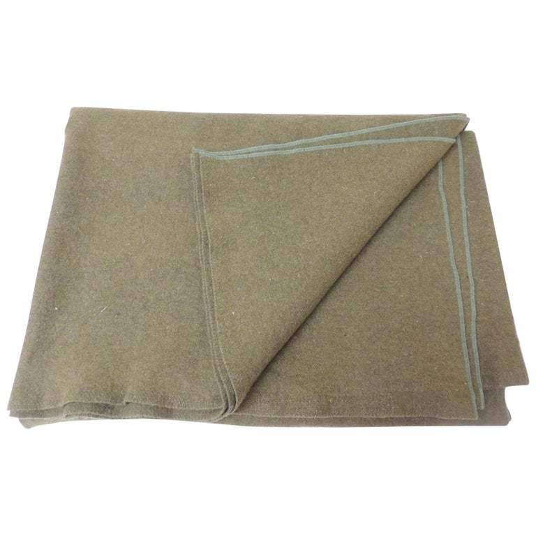 Large Vintage Army Wool Camping Blanket For Sale