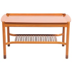Low Table in Mahogany with Brass Details by Swedish Nordiska Kompaniet