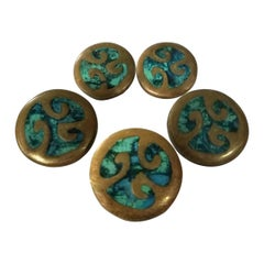 Pepe Mendoza, Set of 5 Bronze Pull Knobs with Chrysocolla