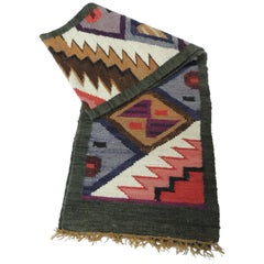 Vintage Woven Colorful Tribal Peruvian Wool Runner with Fringes