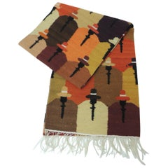 Vintage Woven Colorful Peruvian Wool Runner Depicting People with Hats