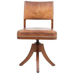 Desk Chair in Patinated Leather and Oak by Danish Cabinetmaker Frits Henningsen