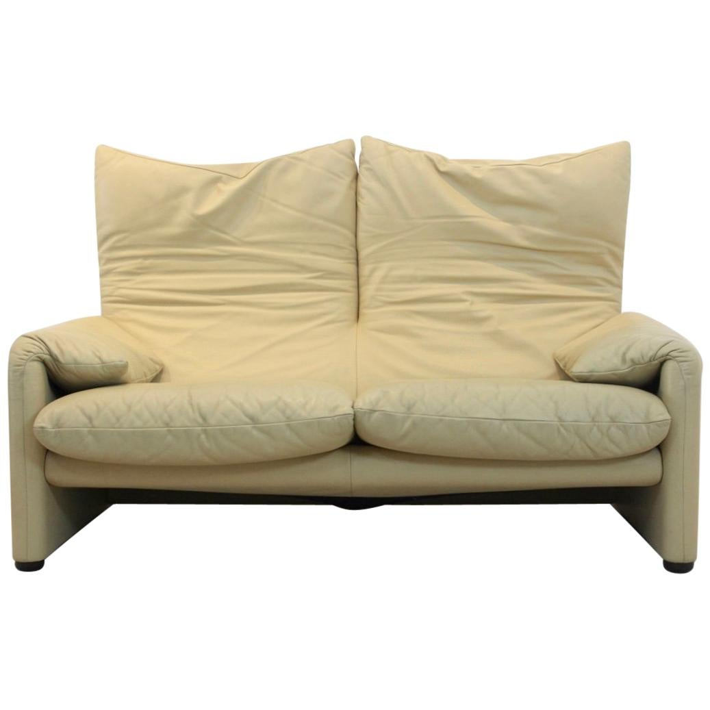 Two-Seat Maralunga Leather Sofa by Vico Magistretti for Cassina