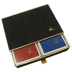 Vintage Velvet Covered Playing Card Box