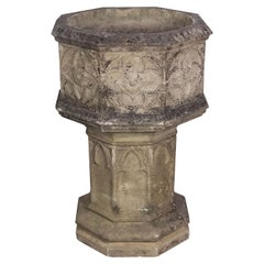 English Garden Stone Octagonal Planter on Pedestal Stand in the Gothic Style