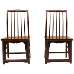 Pair of Black Lacquer Hat Chairs