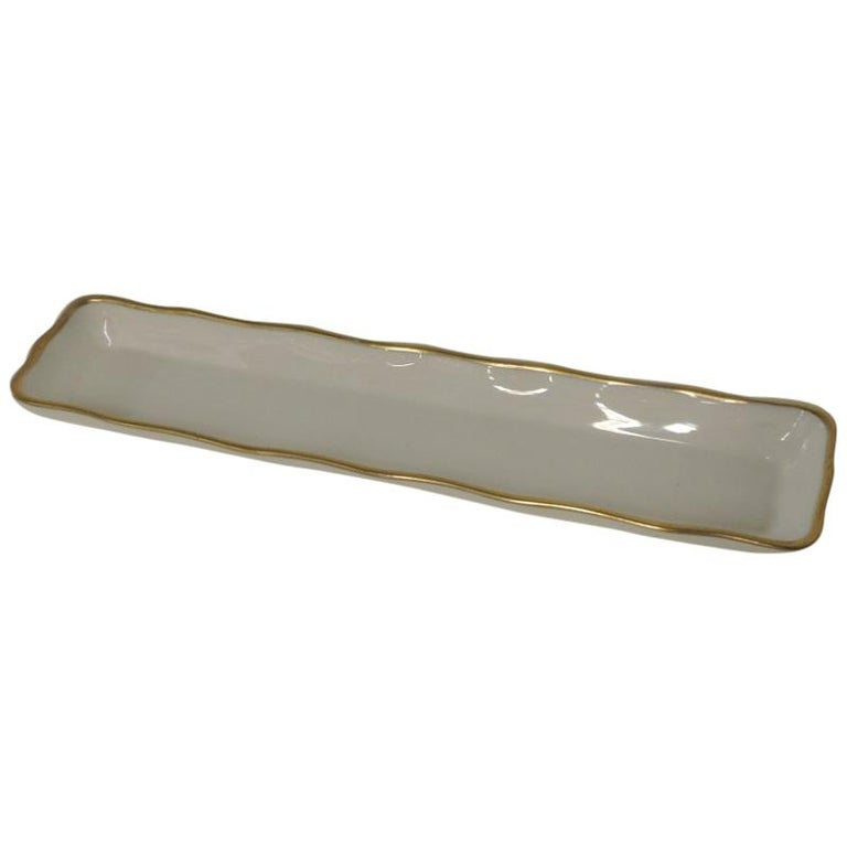 Bone China Trinket Tray with Gold Accents For Sale