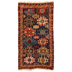 Antique Caucasian Lesghi Star Wool Hand Knotted Rug Woven by the Kurds