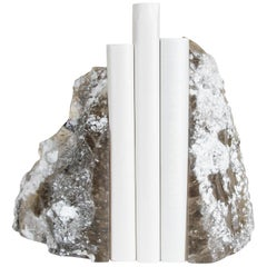 Set of Bookends, Smoke Ice Crystal by Robert Kuo, Hand Carved, Limited Edition