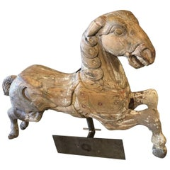 Carousel Wood Hand Carved Horse Early 20th Century on Wall Brass Base
