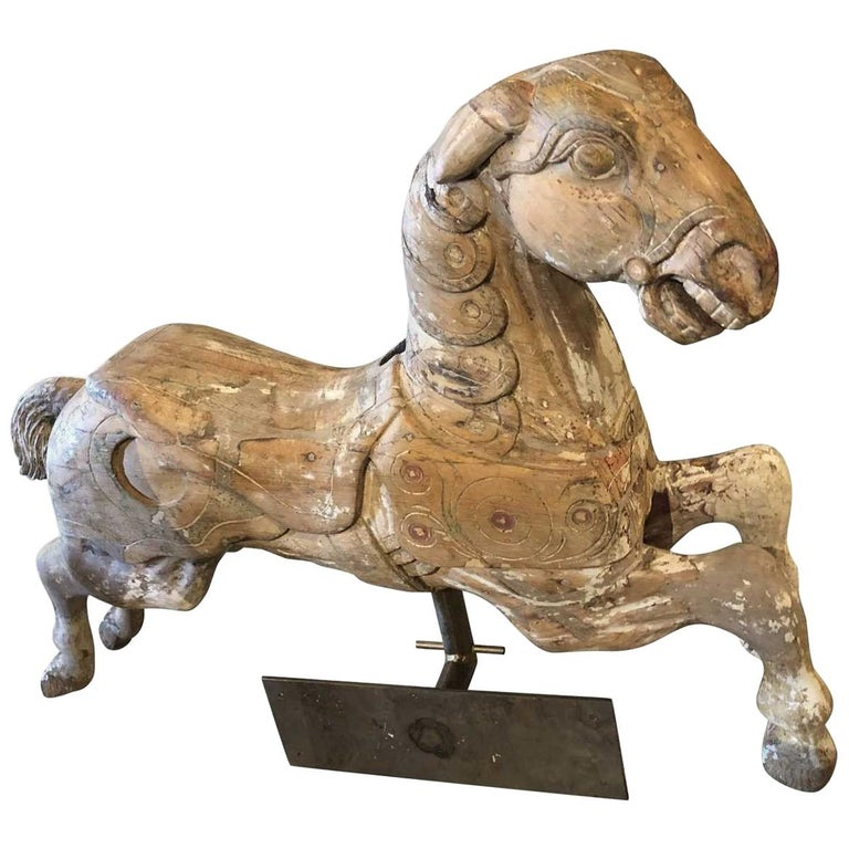 Carousel Wood Hand Carved Horse Early 20th Century on Wall Brass Base For Sale