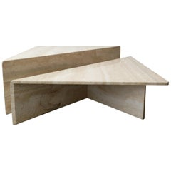 2-Piece Tiered Post-Modern Italian Travertine Coffee Table