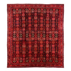 Antique Indian Agra Vegetable and Cochineal Dyed Wool Rug with Mosaic Design