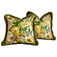 Pair of Downfilled Floral Cushions with Brush Fringe