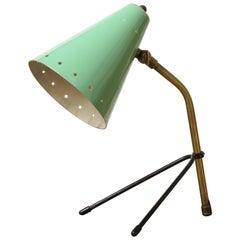 Italian Midcentury Adjustable Brass Desk Lamp with Mint Green Shade