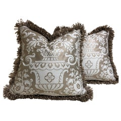 "Pair of Fortuny ""Carnavalet"" Down-Filled Cushions Wth Loop Fringe"
