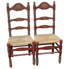 Pair Portuguese Painted Ladder Back Side Chairs with Rush Seat and Flower Motif