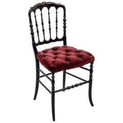 Black Italian Chiavari Chair with Burgundy Velvet Tufted Seats
