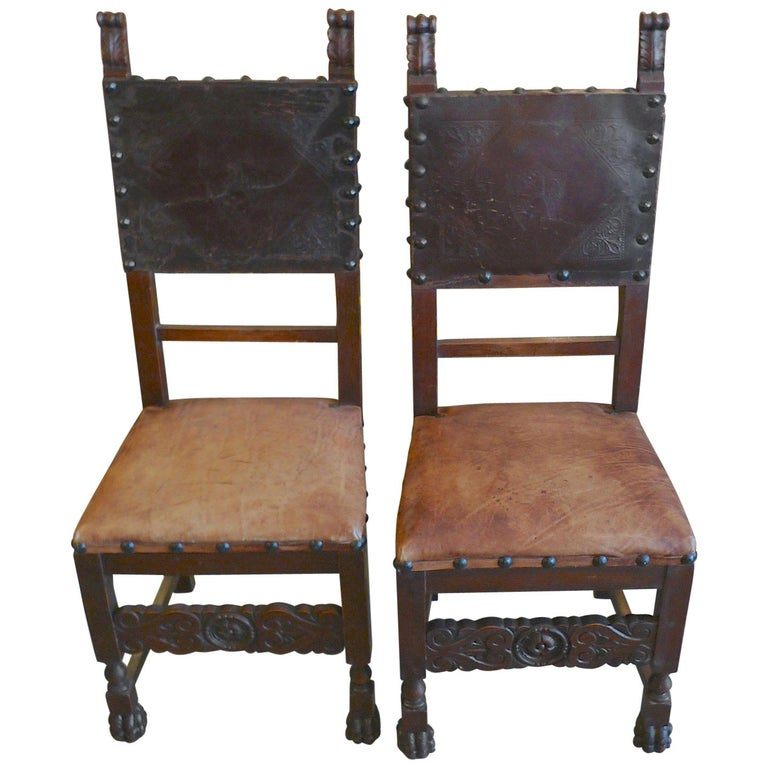 Pair of Spanish 18th Century High Back Studded Leather Dining Chairs For Sale