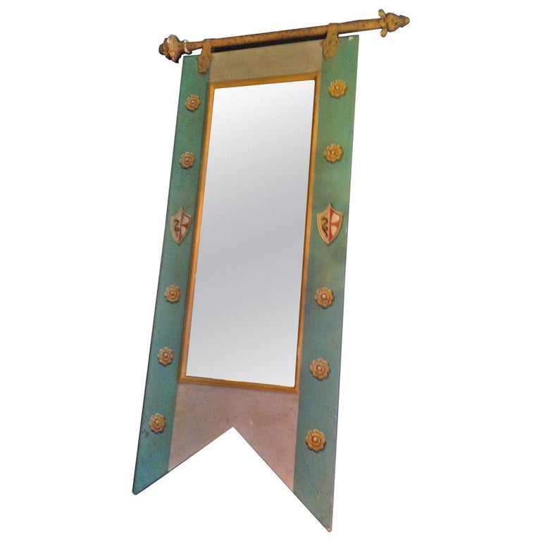 French 19th Century Decorative Mirror with Original Painted Frame and New Glass For Sale